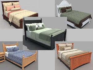 3d set beds bedroom furniture