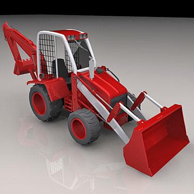3d backhoe loader