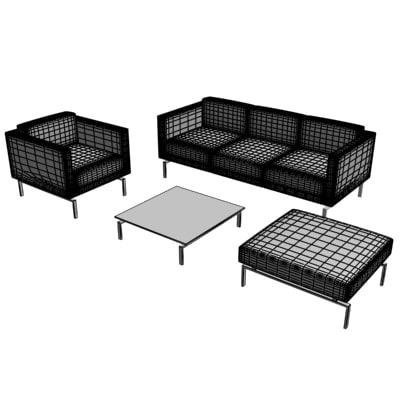 sofa polys bedrooms 3d model