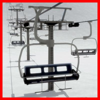 chair lift tower 3d model