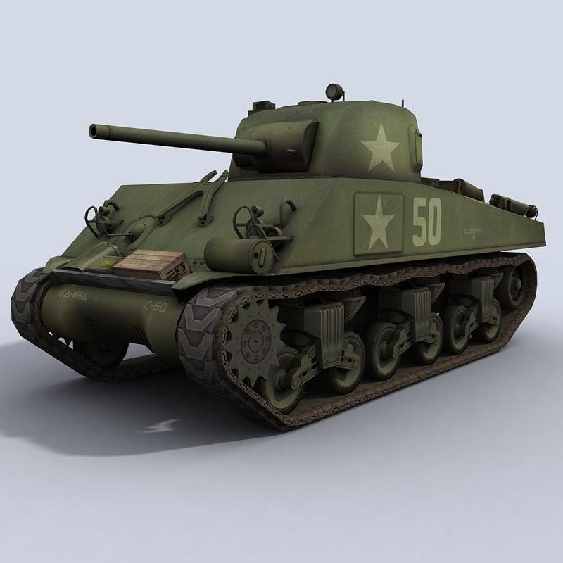 m4a3 sherman u s 3d model