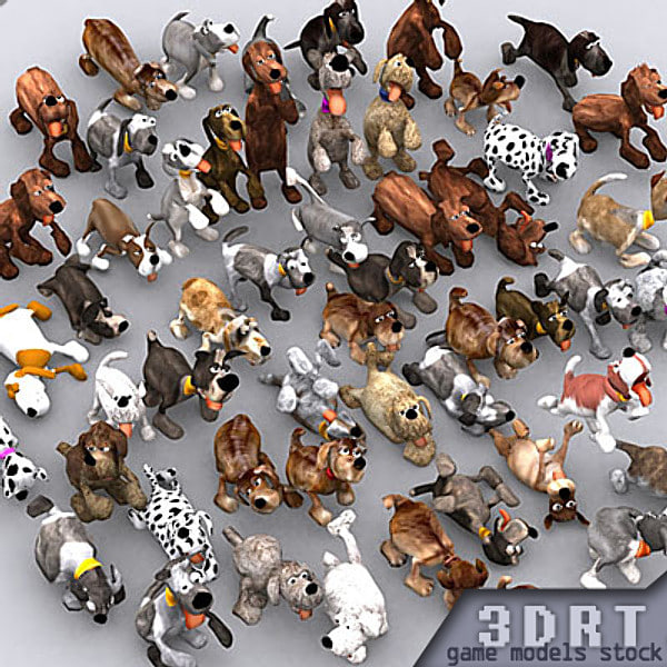 cartoony puppies real-time 3d model