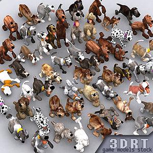 cartoony puppies real-time 3d model