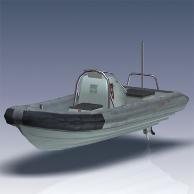 rigid hull inflatable boat 3d model