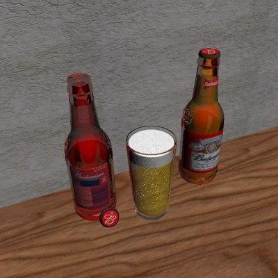 free max model budweiser bottles glass beer