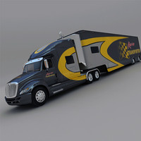 international race car transporter 3d model