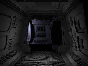 spaceship interior 1 hallway 3d lwo