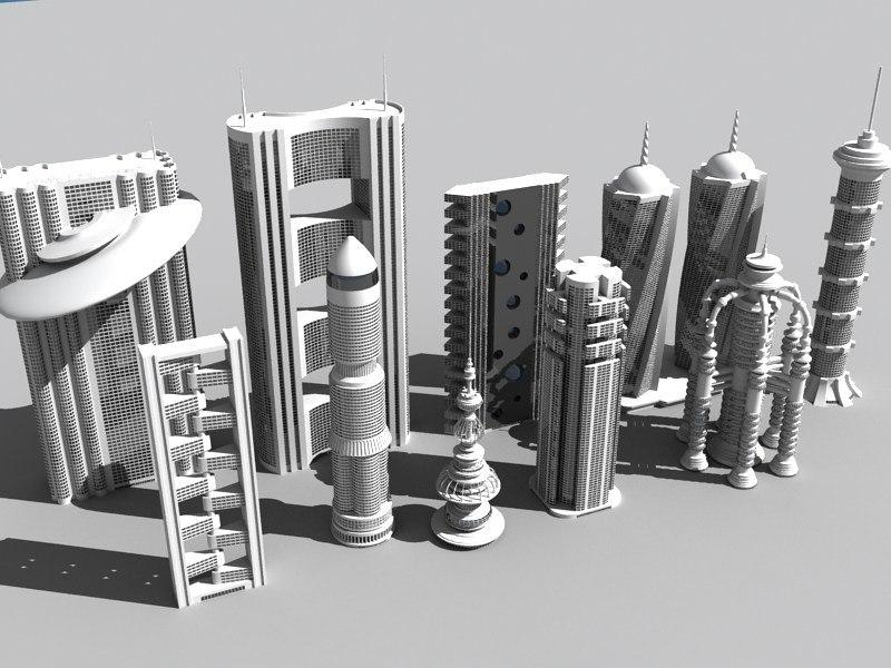 futuristic buildings vol 2 3d model