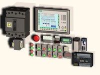 3d model assortment electrical control panel