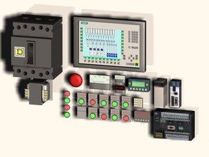 3d model assortment electrical control panel