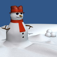 3d model snowman snow