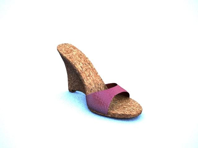 3d wedge women shoe model