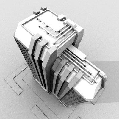3d office building model