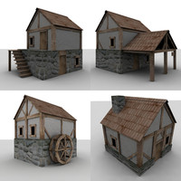 medieval buildings houses games 3d model
