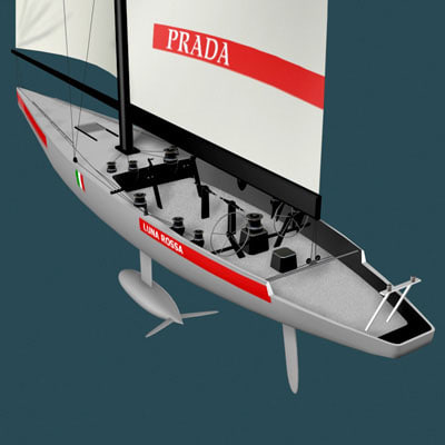 3d americas cup sailboat racing yacht model