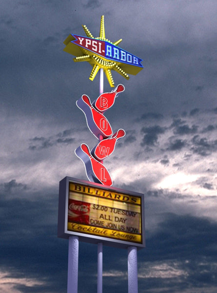 3d model of vintage neon bowling sign