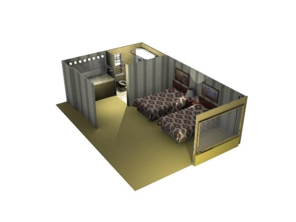 retro motel room 3d max