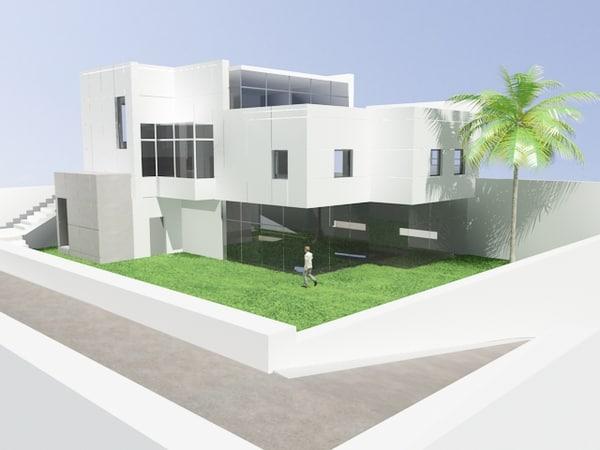 design modern house scene 3d model