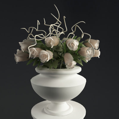 3dsmax bouquet rose whith