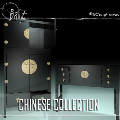 chinese cabinet closet 3d model