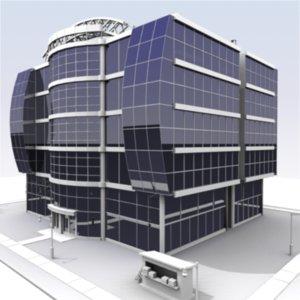 3d model building city block