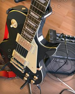 guitar les paul vintage 3d model