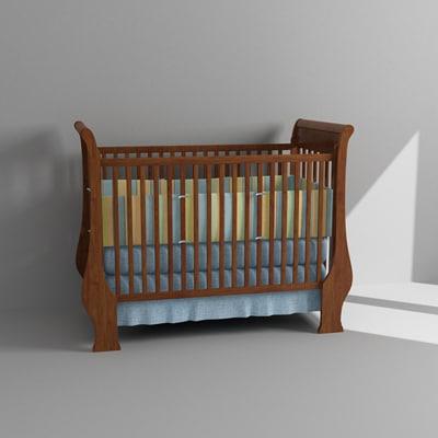 3d baby crib model