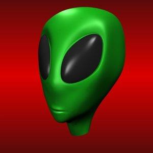 3d model alien head green