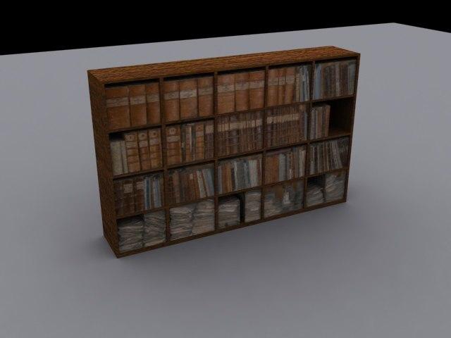 3ds max bookshelf bookwall
