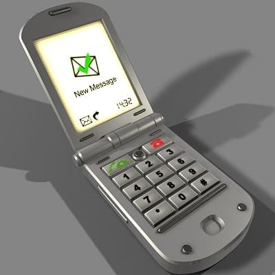 clamshell mobile phone 3d model
