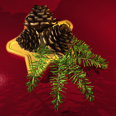fir branch 3d 3ds
