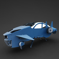 3d futuristic car fly