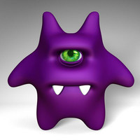 purple character character-gremlin 3d model