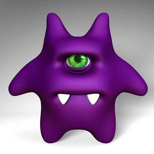 purple character character-gremlin 3d model