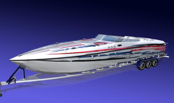3d race boat model