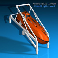 life boat fall ramp c4d