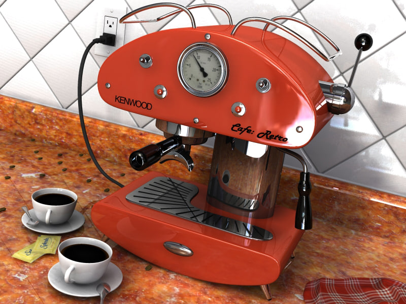 espresso machine kitchen scene 3d model