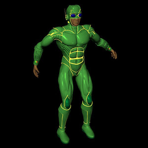 3d figure superhero male poser