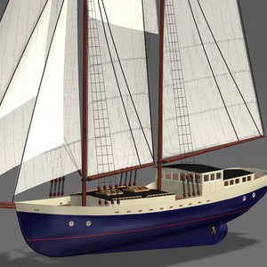 schooner clipper 3d model
