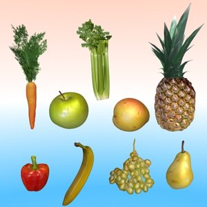 3d fruits collections model