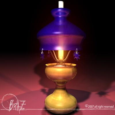 free 3ds model table light oil lamp