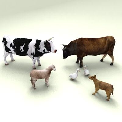 3dsmax low-poly farm animals