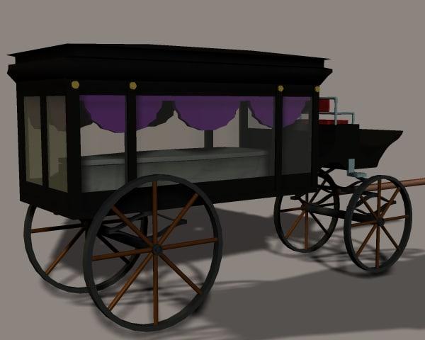 3d obj hearse horse