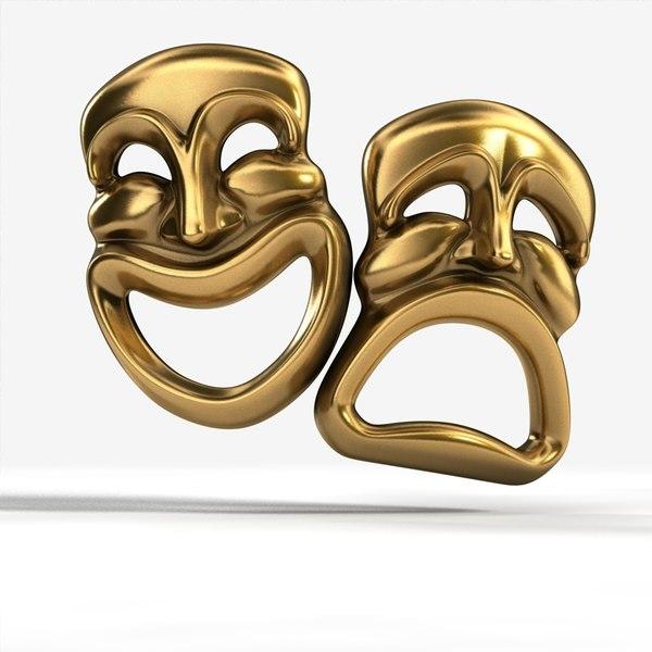 comedy tragedy masks 3d model