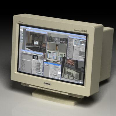 sony w900 crt monitor 3d model