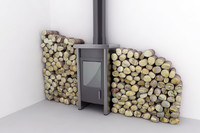 wood Stove with logs