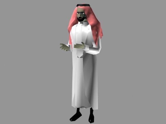 free arabic man character 3d model