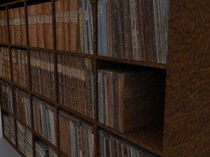 bookshelf bookwall 3d model