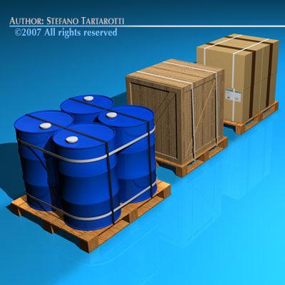 3d model pallets barrels wood crate