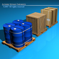 3d model pallets barrels wood crate